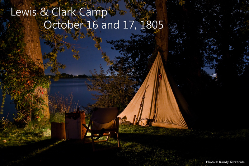 Lewis and Clark tent at night