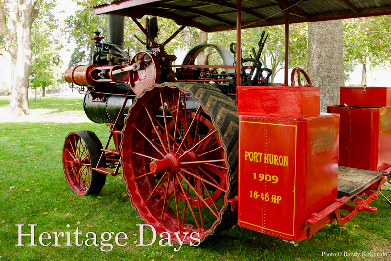Red steam powered tractor